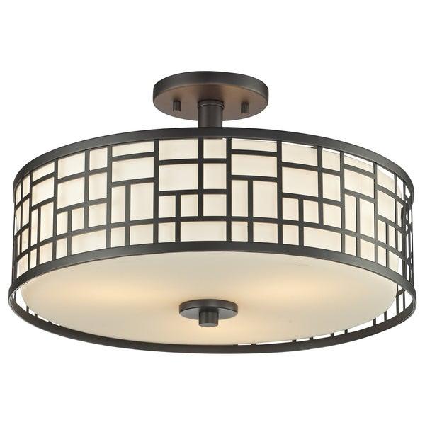 Avery Home Lighting Elea 3-light Bronze Semi-flush Ceiling Mount with Matte Opal Glass
