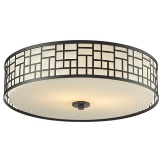 Z-Lite Elea 3-light 20.5-inch Bronze Ceiling Flush Mount with Matte Opal Glass