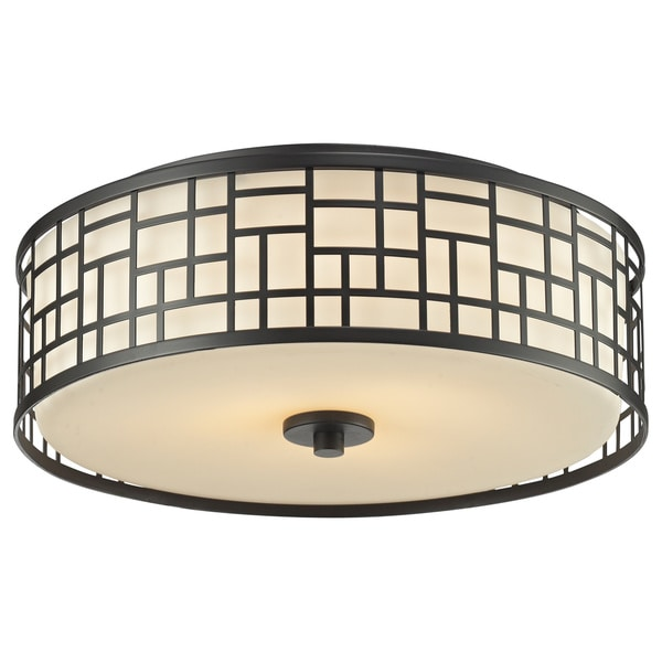 Avery Home Lighting Elea 3-light Bronze Ceiling Flush Mount with Matte Opal Glass