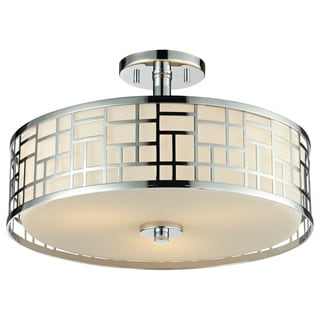 Z-Lite Elea 3-light Semi-flush Mount Chrome Ceiling Fixture with Matte Opal Glass