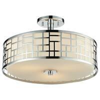 Avery Home Lighting Elea 3-light Semi-flush Mount Chrome Ceiling Fixture with Matte Opal Glass