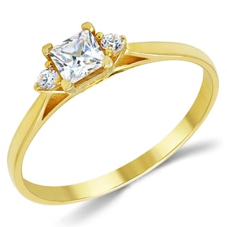 14k Yellow Gold 3-stone Cubic Zirconia Promise Ring
