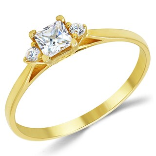 14k Yellow Gold 3-stone Cubic Zirconia Promise Ring - White