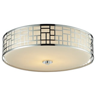 Z-Lite Elea 3-light 20.5-inch Flush Mount Chrome Ceiling Fixture with Matte Opal Glass