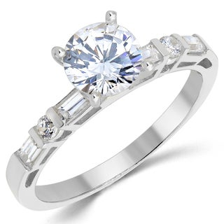 14k White Gold Round and Baguette-cut Cubic Zirconia Engagement Ring