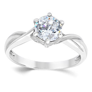 14k White Gold Round Cubic Zirconia Solitaire Engagement Ring