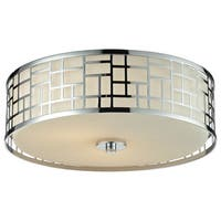Avery Home Lighting Elea 3-light Flush Mount Chrome Ceiling Fixture with Matte Opal Glass