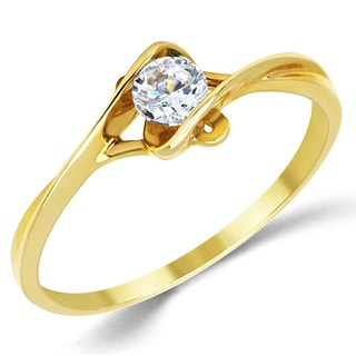 14k Yellow Gold Round Cubic Zirconia Bypass Solitaire Engagement Ring