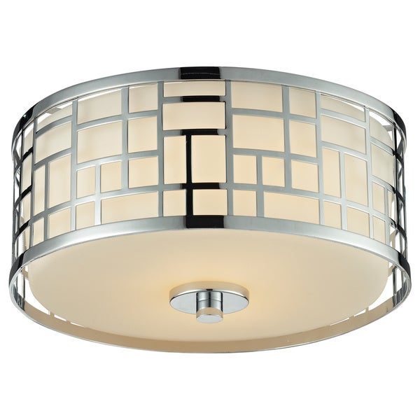 Avery Home Lighting Elea 2-light Chrome Flush Mount Ceiling Fixture with Matte Opal Glass