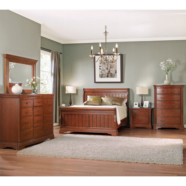 Glenwood Brown Cherry Sleigh Collection 5 Piece Bedroom Set