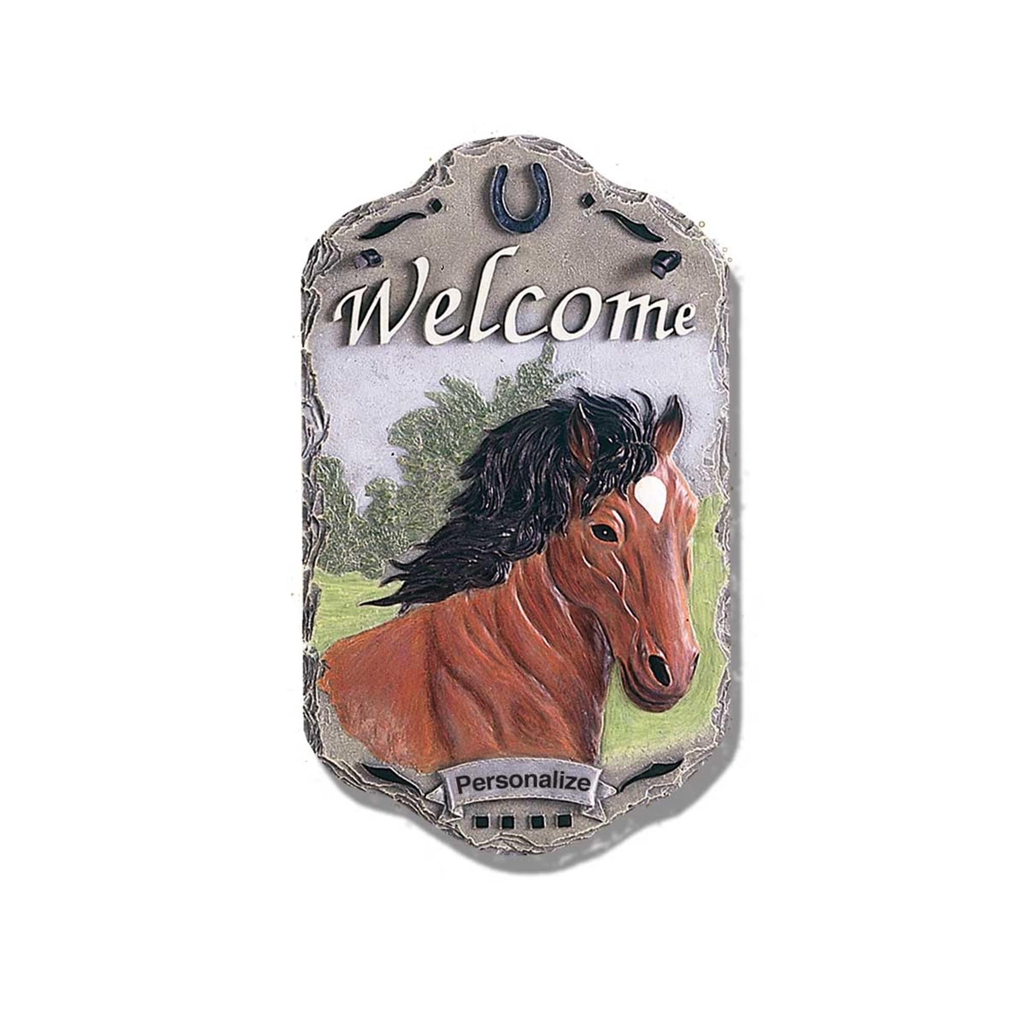 """Welcome Sign, """"Horse"""" Porch Decor, Resin Slate Plaque, Re..."""