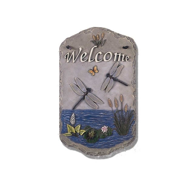 "Welcome Sign, ""Dragonfly"" Porch Decor, Resin Slate Plaque, Ready To Hang Decor. Opens flyout."