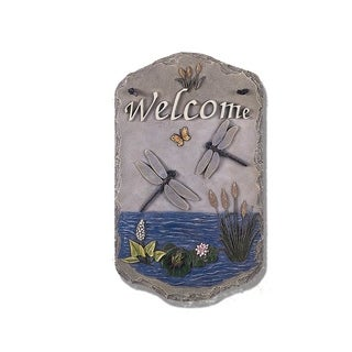 """Welcome Sign, """"Dragonfly"""" Porch Decor, Resin Slate Plaque, Ready To Hang Decor"""
