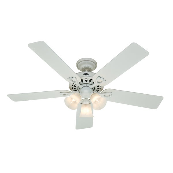 Hunter ceiling fan light assembly : Inch lights speed reversible blade white ceiling