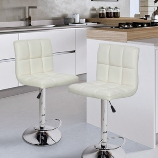 White/ Chrome Adjustable Bar Stool (Set of 2)