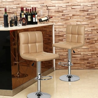 Adeco Beige/ Chrome Adjustable Bar Stools (Set of 2)