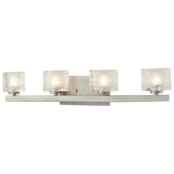 Vanity Lights With Clear Glass : Rai Brushed Nickel 4-light Vanity Light with Clear Glass - Free Shipping Today - Overstock.com ...