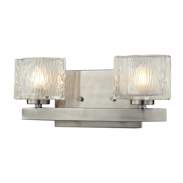 Shop rai brushed nickel 2 light vanity light with clear - 8 light bathroom fixture brushed nickel ...