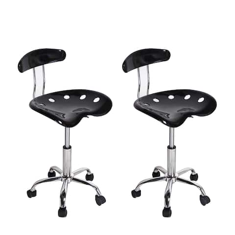 Black Hydraulic-lift Adjustable Bar Stools (Set of 2)