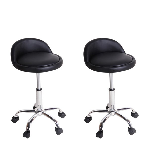 Black Faux Leather Upholstery Low Back Barber Bar Stools