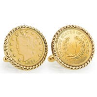 American Coin Treasures Gold-Plated 1883 First-Year-of-Issue Liberty Nickel Goldtone Rope Bezel Cuf