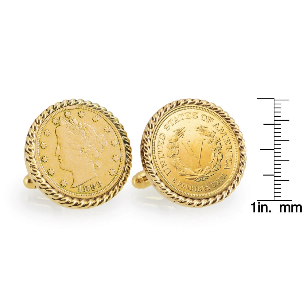 Gold-Layered 1883 First-Year-of-Issue Liberty Nickel Goldtone Coin Cuff Links