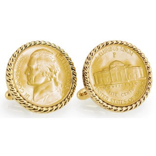 American Coin Treasures Gold-Plated Silver Jefferson Wartime Nickel Goldtone Rope Bezel Cuff Links