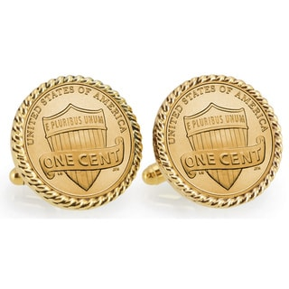 American Coin Treasures Gold-Plated Lincoln Union Shield Penny Goldtone Rope Bezel Cuff Links