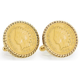 American Coin Treasures Gold-Plated 1800s Indian Head Penny Goldtone Rope Bezel Cuff Links