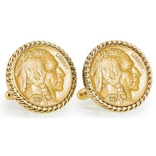 American Coin Treasures Gold-Plated 1913 First-Year-of-Issue Buffalo Nickel Goldtone Rope Bezel Cuf