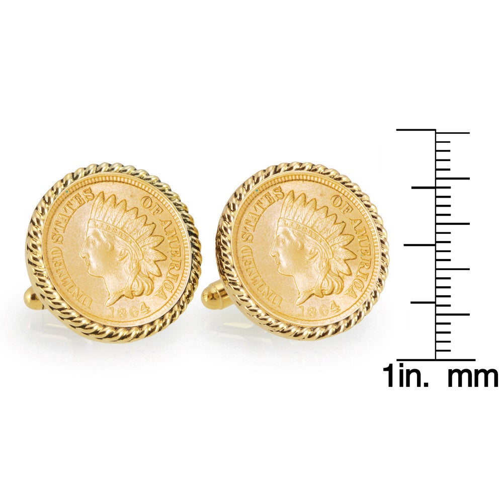 American Coin Treasures Buffalo Nickel Goldtone Rope Bezel Coin Cuff Links