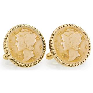 American Coin Treasures Gold-Plated Silver Mercury Dime Goldtone Rope Bezel Cuff Links