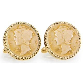 Link to American Coin Treasures Gold-Plated Silver Mercury Dime Goldtone Rope Bezel Cuff Links Similar Items in Men's Jewelry
