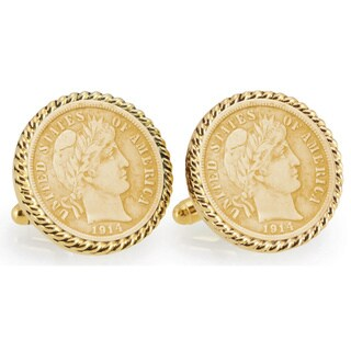 American Coin Treasures Gold-Plated Silver Barber Dime Goldtone Rope Bezel Cuff Links