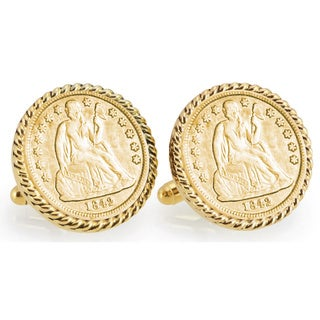 American Coin Treasures Gold-Plated Seated Liberty Silver Dime Goldtone Rope Bezel Cuff Links