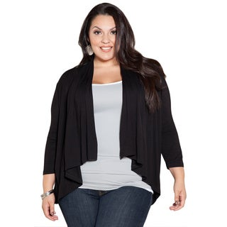 Sealed With a Kiss Women's Plus Size Black Open Cardigan