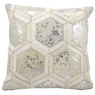 Michael Amini Metallic Hexagon White/Silver Throw Pillow (20-inch x 20-inch) by Nourison