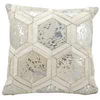 Mina Victory Metallic Hexagon White/ Silver 20 x 20-inch Throw Pillow by Nourison