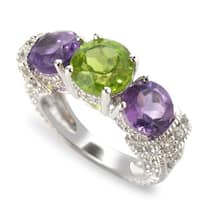 Sterling Silver Amethyst, Peridot and White Topaz 3-stone Ring