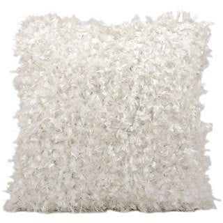 Michael Amini Shimmer Shag White Throw Pillow (20-inch x 20-inch) by Nourison