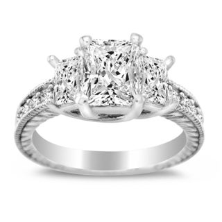 14k White Gold Emerald-cut Cubic Zirconia Three Stone Engagement Ring