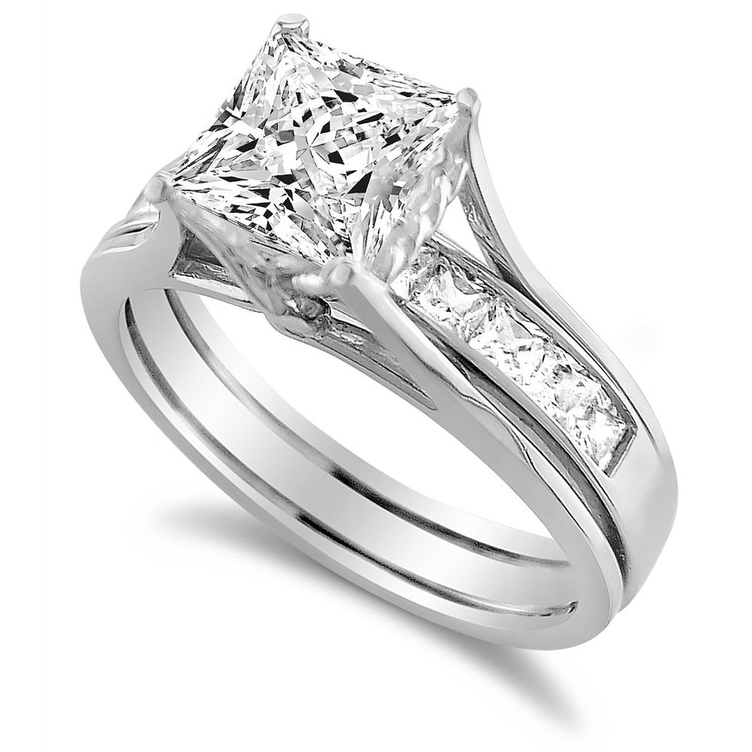 This is a graphic of 4444K White Gold 4444 4444/44 CT Princess-Cut Cubic Zirconia Insert Bridal Ring Set