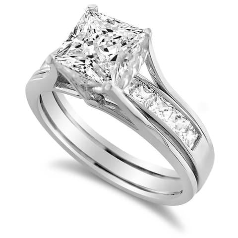 14K White Gold 1 3/4 CT Princess-Cut Cubic Zirconia Insert Bridal Ring Set