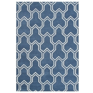 Alliyah Handmade Ink Blue Wool Rug (5' x 8')