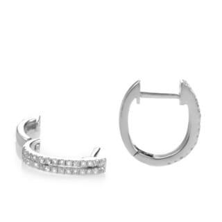 14k White Gold 1/4ct TDW Diamond Double Row Hoop Earrings