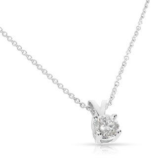 14k White Gold 1/4 to 3/4ctw Round Diamond Solitaire Necklace (H-I, I1-I2)