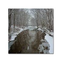 Kurt Shaffer 'Winter Bridge' Canvas Art - Multi
