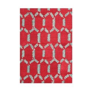 Handmade Alliyah Mandarin Red Wool Rug (5' x 8')