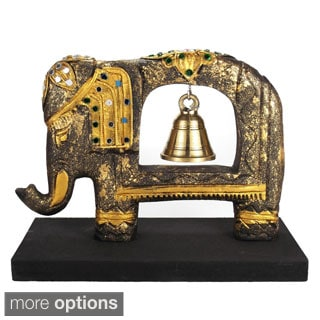 Handmade Jeweled Elephant Sculpture Rain Tree Wooden Brass Bell (Thailand)