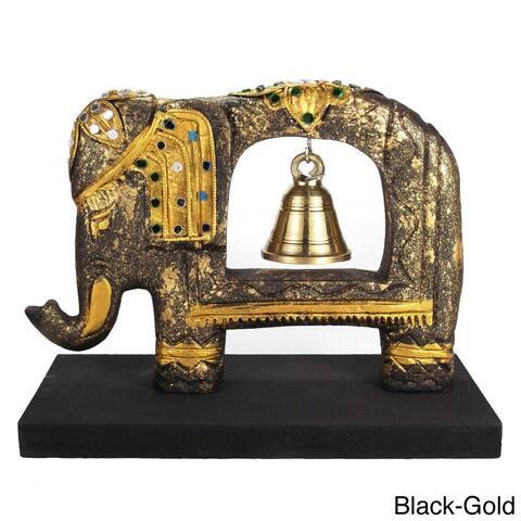 Handmade Elephant Tree Wooden Brass Bell (Thailand)